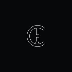 Initial letter CJ JC minimal monogram art logo, white color on black background.
