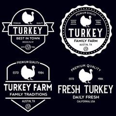 Set of premium turkey labels, badges and design elements. Logo for butchery, meat shop, steak house, farm etc.