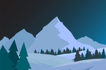 Night Christmas forest with mountains. New year vector card