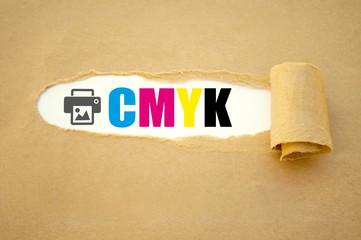 CMYK Druckfarben mit Druckersymbol icon