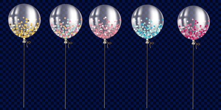 Set of transparent ballon with confetti