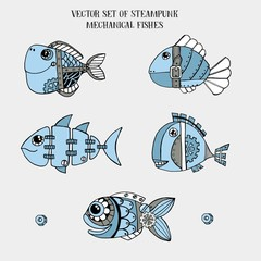 Vector set of steampunk mechanical metallic fishes isolated on empty background, can be used as fashion print for t shit for boys, pattern, hand drawn characters, 19th century industrial style