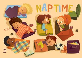 Kindergarten Nap Time Kid Vector Illustration. Preschool Multiracial Children Sleep on Bed, Girl Friend Gossip. Little Baby Character Dream in Bedroom. Child Group Daily Routine Schedule