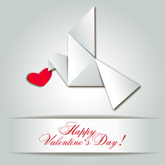 Vector greeting card with dove origami