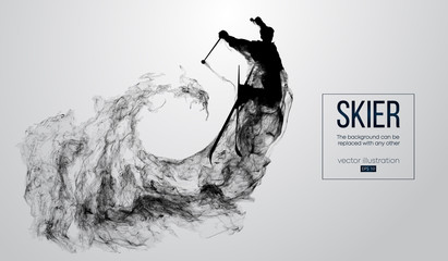 Abstract silhouette of a skier isolated on white background from particles, dust, smoke, steam. Skier jumping and performs a trick. Background can be changed to any other. Vector illustration