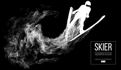 Abstract silhouette of a skier isolated on dark, black background from particles, dust, smoke, steam. Skier jumping and performs a trick. Background can be changed to any other. Vector illustration