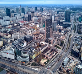 WARSAW, POLAND - NOVEMBER 21, 2018: Beautiful panoramic aerial skyline drone view to the skyscrapers located center of Warsaw City, Poland