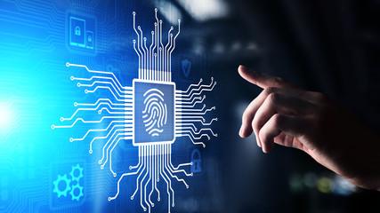 Wall Mural - Fingerprint unlock cyber security data protection concept on virtual screen.