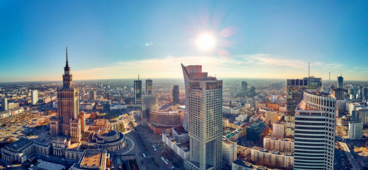 WARSAW, POLAND - NOVEMBER 20, 2018: Beautiful panoramic aerial drone view to the center of Warsaw...
