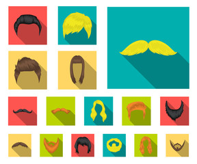 Mustache and beard, hairstyles flat icons in set collection for design. Stylish haircut vector symbol stock web illustration.