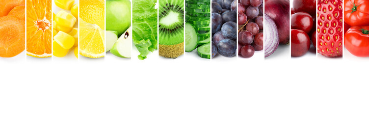Collage of color fruits and vegetables Wall mural