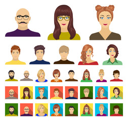 Avatar and face cartoon,flat icons in set collection for design. A person's appearance vector symbol stock web illustration.