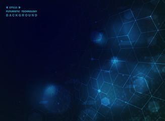 Abstract blue technology geometric background with effect.