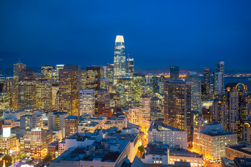 Fototapete - Evening panorama of San Francisco