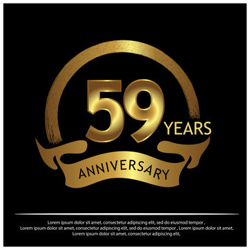 59 years anniversary golden. anniversary template design for web, game ,Creative poster, booklet, leaflet, flyer, magazine, invitation card - Vector