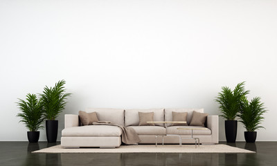 The loft living room and concrete wall texture background and brown leather sofa with plants