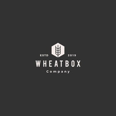 farmer box wheat logo hipster vintage retro vector icon hexagon
