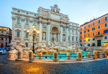 Zelfklevend Fotobehang Centraal Europa Trevi Fountain in the morning light in Rome, Italy. Trevi is most famous fountain of Rome. Architecture and landmark of Rome.