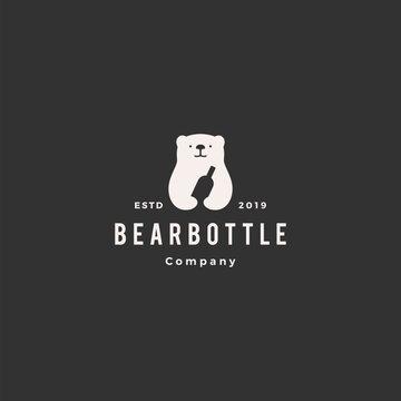 bear bottle logo hipster vintage retro vector icon illustration