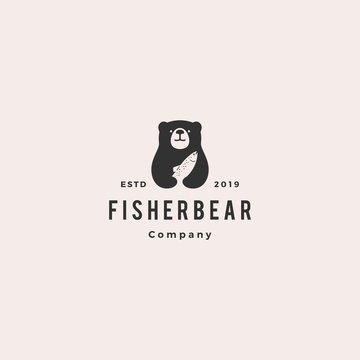 bear fish salmon logo hipster retro vintage vector icon illustration