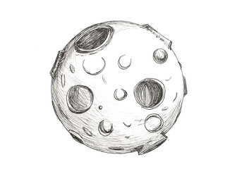 Moon with craters drawing pencil on white background