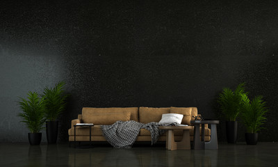 The modern black living room and black concrete stone wall texture background and brown leather sofa