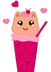 Kawaii Milchshake-Kirsche mit Kätzchen Character. Vector Eps 10