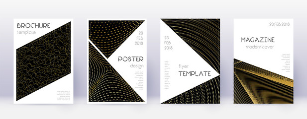 Triangle brochure design template set. Gold abstra