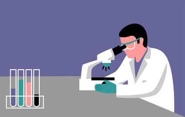 Illustration of a scientist investigating