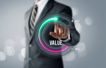 Growth value, increase value, value added or business growth concept. Businessman is pulling up...