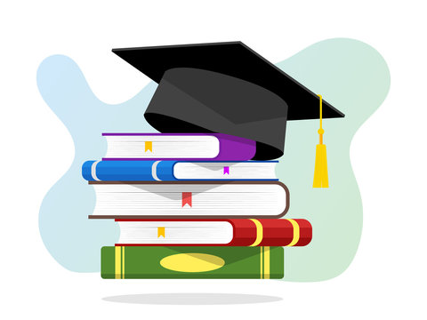 Stack of books with graduation cap Vector Illustration