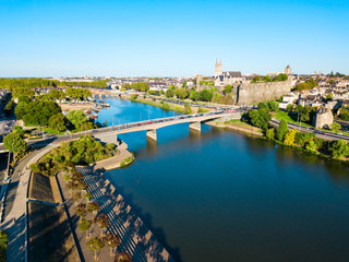 Angers aerial panoramic view, France