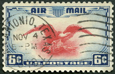 USA - 1937: shows Eagle Holding Shield, Olive Branch and Arrows