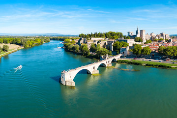Tuinposter Europese Plekken Avignon city aerial view, France