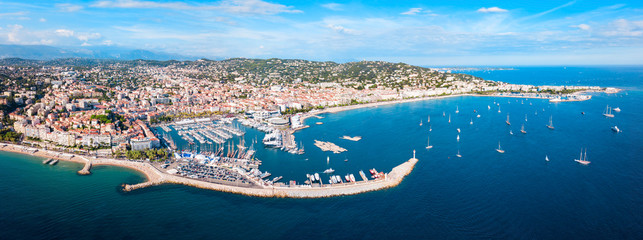 Poster Europa Cannes aerial panoramic view, France
