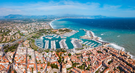 Antibes aerial panoramic view, France