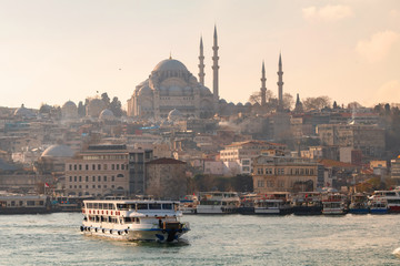 Istanbul, View on the Suleymaniye Mosque and boat on the foreground