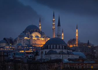 Beautiful view on Suleyman mosque at the rainy evening after the sunset
