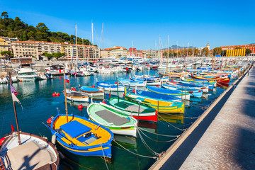 Nice port with boats, France Wall mural
