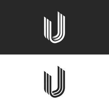 Letter U logo isometric shape, creative symbol UUU initials monogram, overlapping lines smooth form