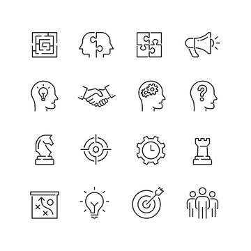Business strategy related icons: thin vector icon set, black and white kit