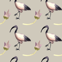 Seamless pattern watercolor with ibis, egyptian symbol