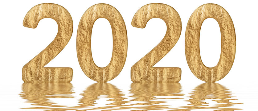 Inscription 2020, reflected on the water surface, isolated on  white, 3d render