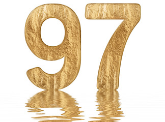 Numeral 97, ninety seven, reflected on the water surface, isolated on  white, 3d render