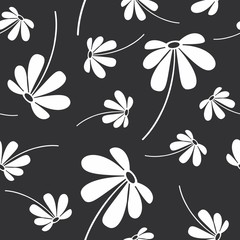 Vector illustration of flowers style seamless pattern