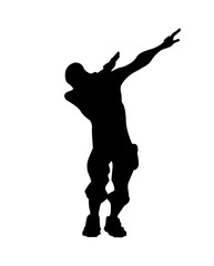 Fortnite concept. Silhouette of a man in a dab pose. Dub icon, vector illustration Fortnite