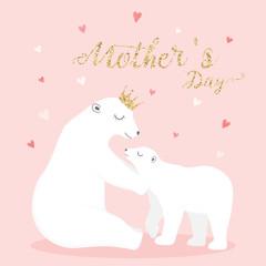 cute polar bears vector. mother and baby polar bears.