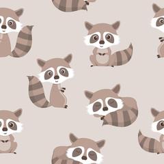 seamless pattern of cute raccoon.