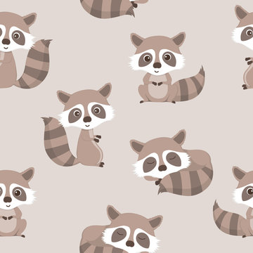 seamless pattern of cute raccoon.