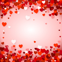 Valentine's day background with hearts. Holiday decoration element - red hearts on pink background. Vector illustration